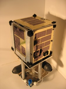Prototype of a CubeSat-sized vehicle that floats on air feet