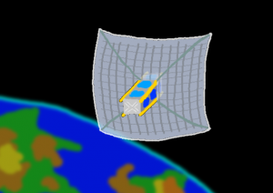 "3U CubeSat with 1 meter ""pusher"" sail"